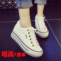 内增高小白鞋春季女新款百搭韩版学生休闲板鞋厚底帆布鞋子女
