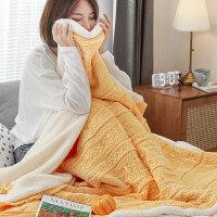 盖毯针织羊羔绒全棉毛巾被夏天毯子办公室午睡空调沙发休息毛毯 130*160cm