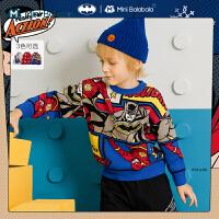 【2件4折�⒖�r:99】DC超人迷你巴拉巴拉毛衫2020冬季新款百搭�r尚柔�男童��衫