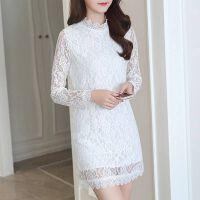 秋冬季韩版大码女装蕾丝加绒打底衫女长袖T恤女中长款连衣裙上衣 白色 薄款
