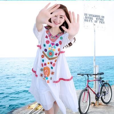 欧美女装沙滩裙女泰国沙滩裙白色大码中长款海滩裙民族风海南三亚海边度假显瘦长裙 白色