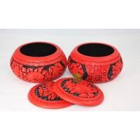 雕漆精品装饰牡丹花围棋罐 商务礼品