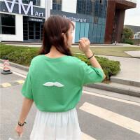 春夏韩版网红翅膀宽松短袖T恤女学生糖果色内搭体恤上衣打底衫潮 均码