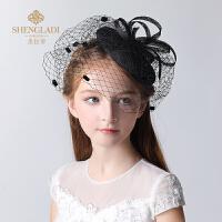 儿童礼帽女黑色走秀派对演出公主发饰女孩帽子头饰支持演出饰品