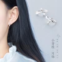 耳钉女耳夹耳环耳饰S925银小清新气质韩国个性简约耳钩花勾