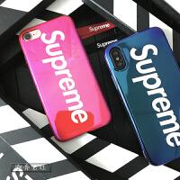 superme手机壳x新款7puls个性镭射蓝光8p苹果6情侣硅胶软壳套 苹果7/8 炫红