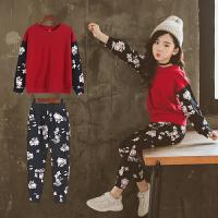 女童春秋装2018新款套装大女孩运动服儿童休闲秋季卫衣两件套
