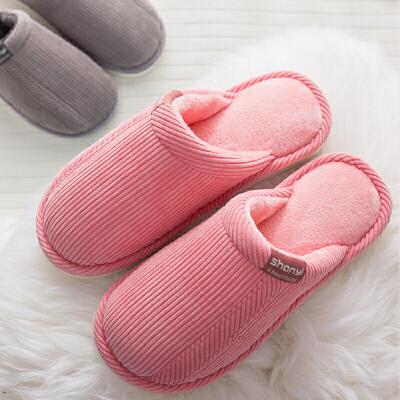 秋冬季情侣软底棉拖鞋男家居家保暖室内半包跟月子棉鞋女防滑加厚