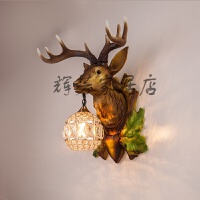 欧式鹿角壁灯麋鹿灯创意客厅灯餐厅酒吧个性艺术鹿头壁灯卧室壁灯 特