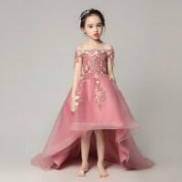儿童礼服公主裙女童蓬蓬纱花童钢琴演出服小主持人走秀晚礼服拖尾