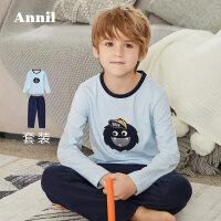 【2件45折:119.8】安奈儿童装儿童家居服套装秋新款可爱卡通长袖圆领睡衣两件套