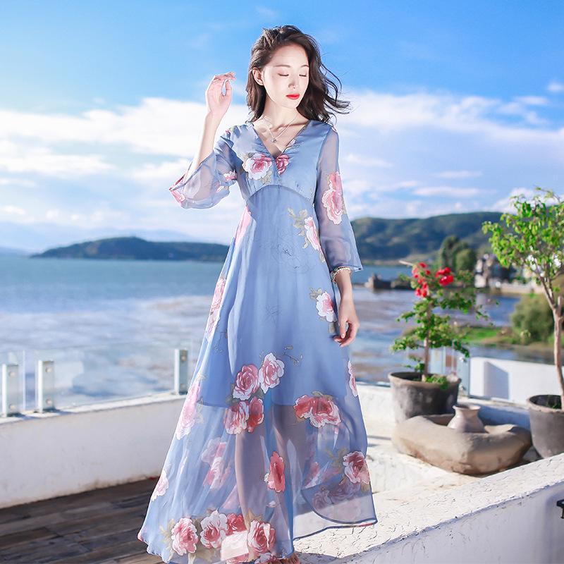欧美女装沙滩裙女沙滩裙女2019新款显瘦雪纺连衣裙海边度假裙子三亚普吉岛仙长裙 图片色