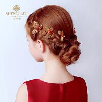 儿童头饰金色红色蝴蝶女孩发夹发叉发簪发饰礼服配饰花童头饰