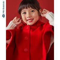 【每满299元减100元】迷你巴拉巴拉儿童呢子外套女童新年连帽毛呢大衣2019新款冬季童装