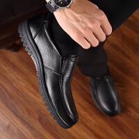 宜驰 EGCHI 商务休闲皮鞋子男士加绒保暖头层牛皮套脚软底驾车耐磨棉鞋子男 K6189