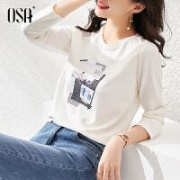 【3折折后价:99元】OSA欧莎秋装新款时尚气质百搭圆领印花长袖T恤女