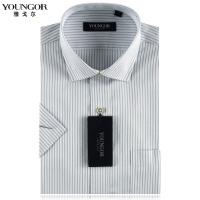 雅戈尔衬衫男正品全棉免熨 男士灰色条纹短袖衬衫SDP16652-13