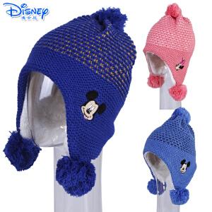 迪士尼儿童帽子冬季加绒加厚保暖男童女童卡通小孩宝宝毛线针织帽