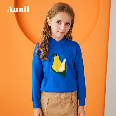 【2件45折:135】安奈儿童装女童冬季新款连帽套头毛衣 色块图案提花,色彩亮丽,连帽舒适好搭