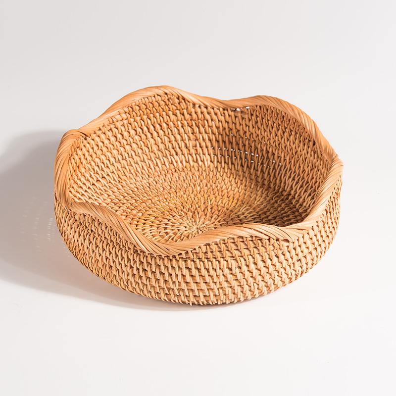 家用水果篮藤编果盘竹编面包篮藤编蓝面包筐馒头筐收纳筐
