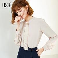 【折后叠券价:132】OSA欧莎春季新款女士高档洋气雪纺衫灯笼袖2020时尚小衫长袖上衣