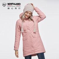 【过年不打烊】诺诗兰新款户外冲锋衣女式潮牌加绒加厚外套GS072626