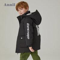 【2件45折:360】安奈儿童装男童冬季新款带帽中长款棉衣