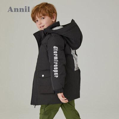 【2件45折:360】安奈儿童装男童冬季新款带帽中长款棉衣 工装设计风格,立领防风保暖
