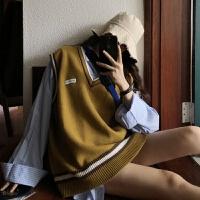 学院风秋冬韩版宽松V领毛衣女学生超火百搭马甲背心针织衫