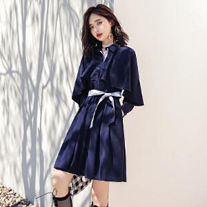 长袖连衣裙女式2018秋装春季新款秋裙韩版修身显瘦中长款气质裙子