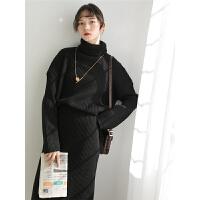 港味毛衣裙子两件套宽松慵懒风套装女秋冬新款针织韩版中长裙