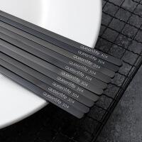 韩式304不锈钢钛金实心扁筷韩国加厚防烫家用5双家庭装筷子