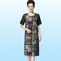 夏季中年妈妈装宽松大码桑蚕丝连衣裙中长款重磅真丝短袖裙子
