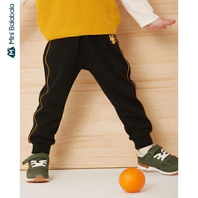 【限时1件6折 2件5折】迷你巴拉巴拉儿童裤子男童简约长裤2019年秋季新款宝宝品质卫裤