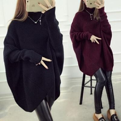 加肥加大码女装胖妹妹针织衫秋冬装胖MM韩版蝙蝠袖高领毛衣外套