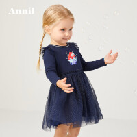 【3件3折�A估券后�r:97元】安奈�和��b女童�L袖�B衣裙2020春�b新款小童����美人�~印花小裙子