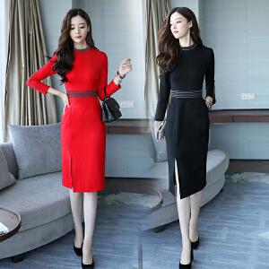 RANJU 然聚2018女装秋季新品新款连衣裙中长款韩版时尚修身显瘦性感开叉打底裙