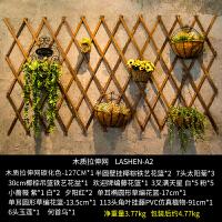 ins木质奶茶店餐厅墙上墙面家居装饰品创意网格实木壁挂壁饰挂件