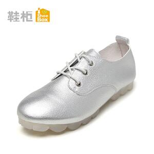Daphne/达芙妮旗下鞋柜 休闲低跟防滑单鞋简约纯色圆头柔软系带深口女鞋