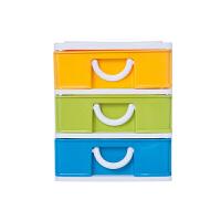 塑料收纳柜桌面收纳柜票据办公桌收纳柜小件首饰品抽屉柜中号四层 2.8L 5019
