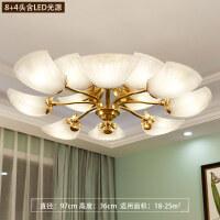 创意欧式全铜吸顶灯主卧室灯客厅简约现代温馨浪漫美式吸顶灯 B款 8+4头