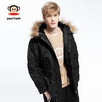 [商场同款]Paul Frank/大嘴猴男带帽加厚保暖棉服外套