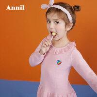 【3件3折:89.7】安奈儿童装女童长袖毛线连衣裙冬装新款