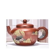 宜兴名家纯手工紫砂壶套装朱泥原矿紫砂泥绘茶具功夫泡茶