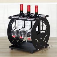 红酒架摆件高脚杯架倒挂家用 实木葡萄酒展示架