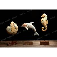 海豚海马海螺树脂摆件海洋动物家居装饰品儿童房样板房工艺品