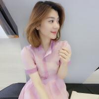 欧洲站极简主义粉色小个子高腰连衣裙女夏2018新款超仙欧货裙子潮