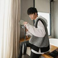 男装韩版秋装针织衫男士套头毛衣学院风马甲线衣学生线衣 灰色