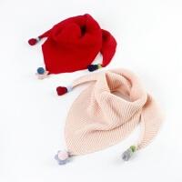 儿童三角围巾韩版秋冬保暖宝宝毛线围巾男孩女孩毛线围巾