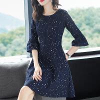 女装连衣裙2019春装新款法式复古大码洋气连衣裙收腰显瘦遮肚子减龄微胖mm女 藏蓝色